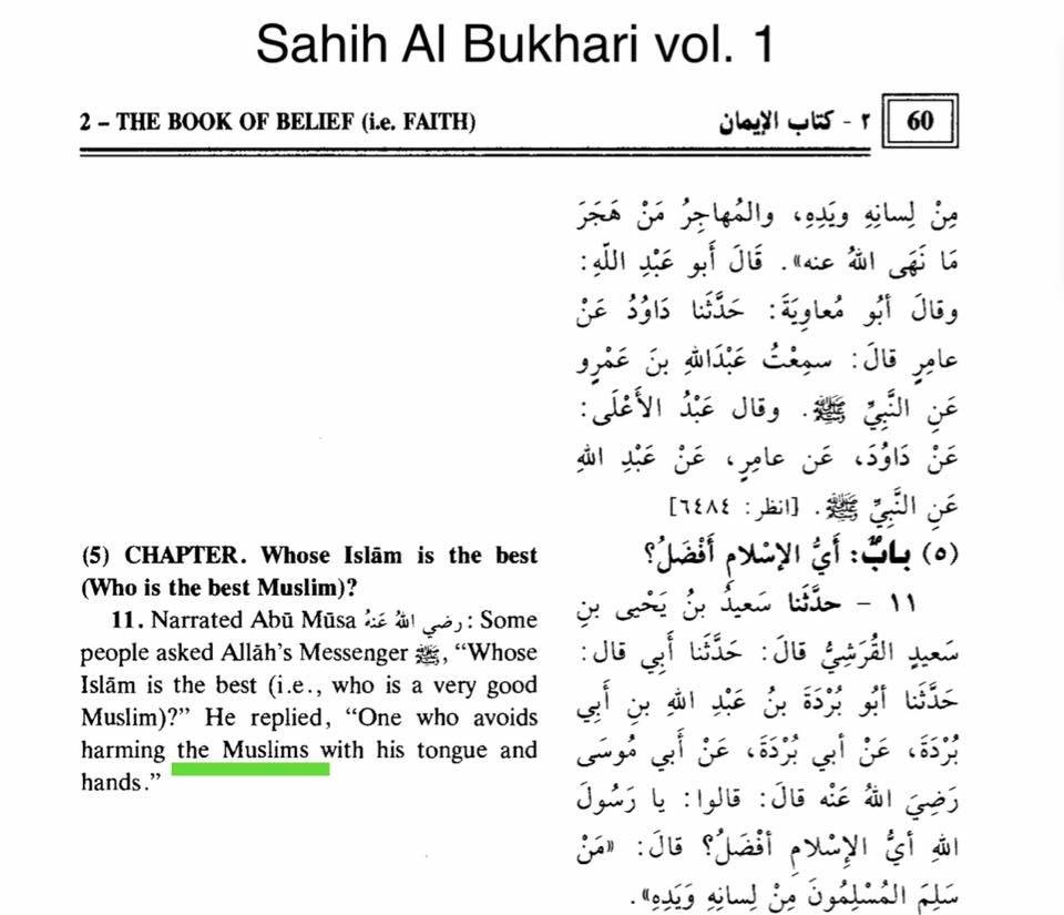 islam ferire persona con la parola